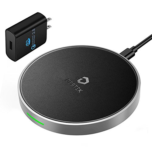 DESTEK iPhone X Fast Wireless Charger – the Fastest Wireless Charging for iPhone & Samsung (7.5W for iPhone X 8 8plus, 10W for S9+ S8 Note8), 5W for Others Qi-Enabled Smartphones (with 18W Adapter)