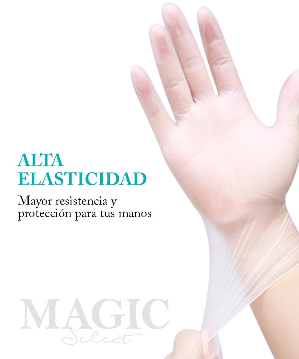 applications /étendues TALLA S haute qualit/é et durabilit/é Lot de 100 gants en vinyle transparents mat/ériaux s/ûrs 1 confortables et antid/érapants imperm/éables