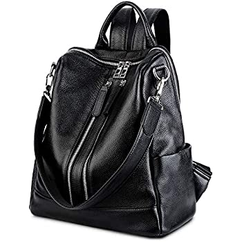 494dfb830c YALUXE Women s Convertible Real Leather Backpack Versatile Shoulder Bag  (Upgraded 3.0) Black