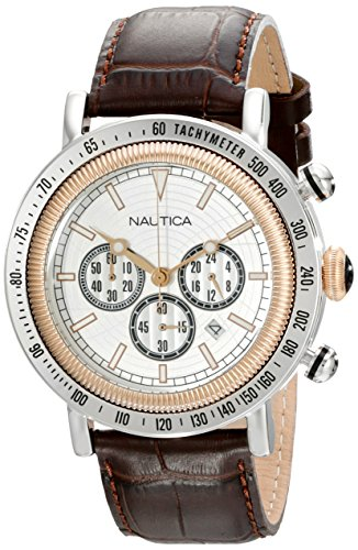 nautica-mens-n15006g-spettacolare-two-tone-stainless-steel-watch-with-brown-leather-band