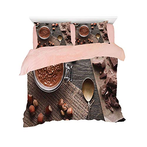 (Comfortable Bed Sheet Set with Bedding Pillow Case Cover for bed width 6ft Pattern Customized bedding for girls and young children,Modern,Natural Chocolate Cocoa Cream Image Rustic Style Image Cafe Ho)