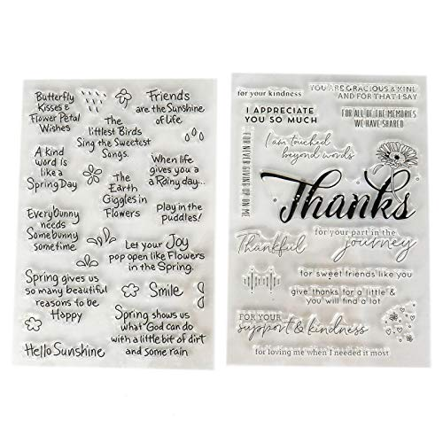 WSSROGY 2 pcs Clear Stamps Friendly Phrases Image Stamp for DIY Scrapbooking Album Paper Cards Making ()