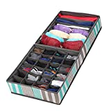 SbuyCoo Underwear Drawer Organizer, Collapsible Closet Dividers and Foldable Storage Box for Bras, Socks, Neck Ties, Scarves, and Handkerchiefs, Set of 2
