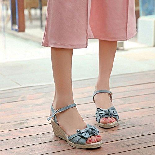 COOLCEPT Mujer Moda Correa de Tobillo Sandalias Punta Abierta Wedge Zapatos con Bowknot Claro Azul