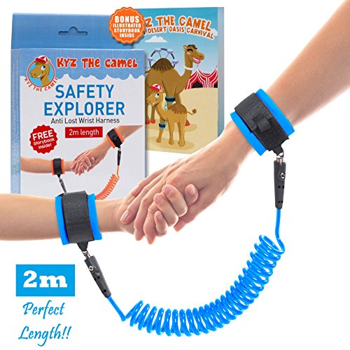 0.5' Double Band - Kid Leash - Child Anti Lost Wrist Harness - with Double Velcro Wrist Band - No Cut Harness for Maximum Security - Comfy Wrist Straps Rotate 360 - Keep Child Nearby - 2m Length