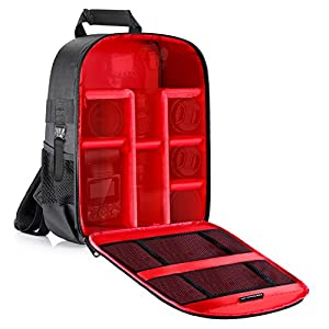 Neewer Camera Case Backpack Waterproof Shockproof 12.2x5.5x14.6 inches/31x14x37 centimeters Bag (Red Interior) for DSLR,Mirrorless