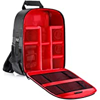 Neewer Waterproof Pro Camera Case Shockproof Backpack, 11.8x5.5x14.6 inches/30x14x37 centimeters Camera Bag with Tripod Holder for SLR DSLR Mirrorless Camera, Flash and Other Accessories(Red Interior)