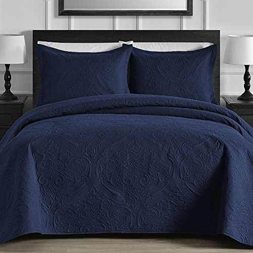eLuxurySupply Floral 3-Piece Oversized Quilt/Coverlet Set with Cotton Filling, King, Navy Blue ()
