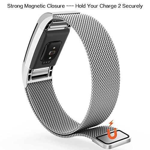 Fitbit Charge 2 Bands,Fitbit Bands Milanese Loop Stainless Steel Metal Replacement Bracelet Strap, Wristbands Accessories for Charge 2 with Stronger Magnetic Clasp