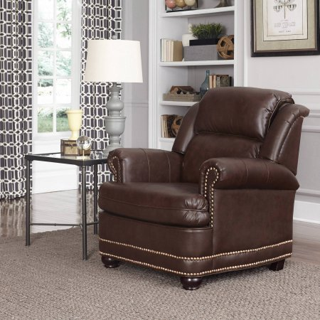 Home Styles Beau Stationary Faux Leather Chair, Brown - Homestyles Leather Sofa
