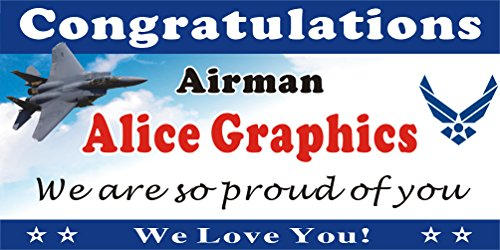 Air Force Banner ([Vinyl] 2ftX4ft Custom Personalized Congratulations Airman US Air Force Basic Military Training (BMT) Graduation Banner Sign or Welcome Home Banner)