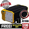 KRIËGER 12V Power Inverter Dual 110V AC outlets, Installation kit Included, Automotive Back up Power Supply for Blenders, vacuums, Power Tools MET Approved According to UL and CSA
