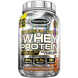 Muscletech Premium Gold Whey Protein, Double Rich Chocolate, 2.23 Pounds