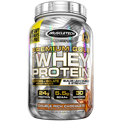 MuscleTech Premium Gold 100% Whey Protein Powder, Ultra Fast Absorbing Whey Peptides & Whey Protein Isolate, Double Rich Chocolate, 30 Servings (2.2lbs)