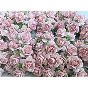 100 Pink rose 15 mm Artificial Mulberry Paper Rose Flower Wedding Scrapbook DIY Craft Scrapbook Scrapbooking Bouquet Craft Stem Handmade Rose Valentines Anniversary Embellishment. 12