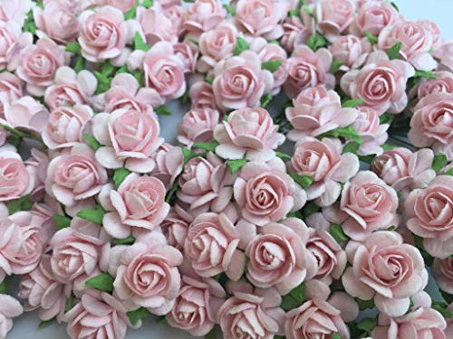 100 Pink rose 15 mm Artificial Mulberry Paper Rose Flower Wedding Scrapbook DIY Craft Scrapbook Scrapbooking Bouquet Craft Stem Handmade Rose Valentines Anniversary Embellishment.