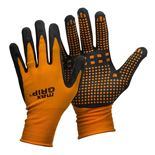Midwest Gloves & Gear 94-L-L-AZ-12 Mens MAX Grip, Single Pair, Orange ()