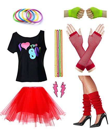 Women I Love The 80's Disco 80s Costume Outfit Accessories Set (L/XL, Red) -