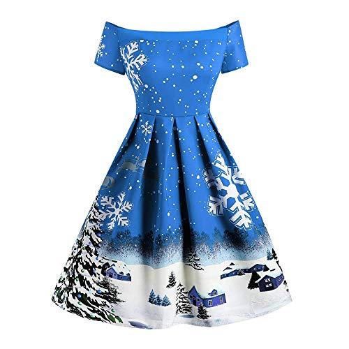 Women Retro Christmas Off Shoulder Snowflake Printing Dress Ladies Vintage A Line Swing Dress