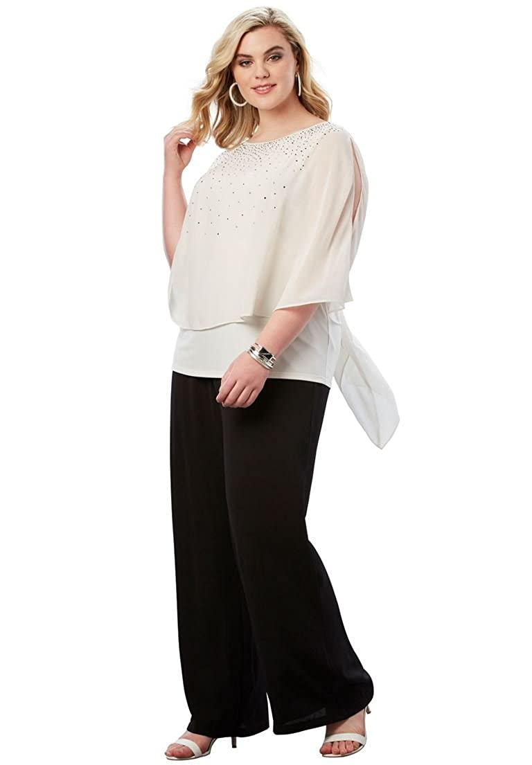 Roamans Womens Plus Size Studded Pant Set