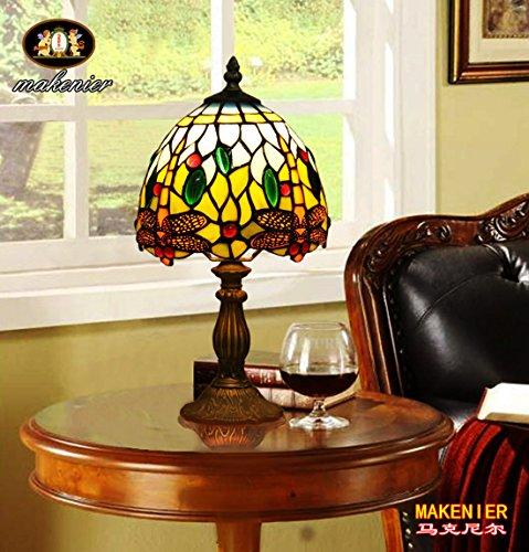 Makenier Vintage Tiffany Style Stained Glass Bedroom Bedside Corner Table Desk Blue Dragonfly Small Lamp, 7 Inches (Small Stained Glass Table Lamp)