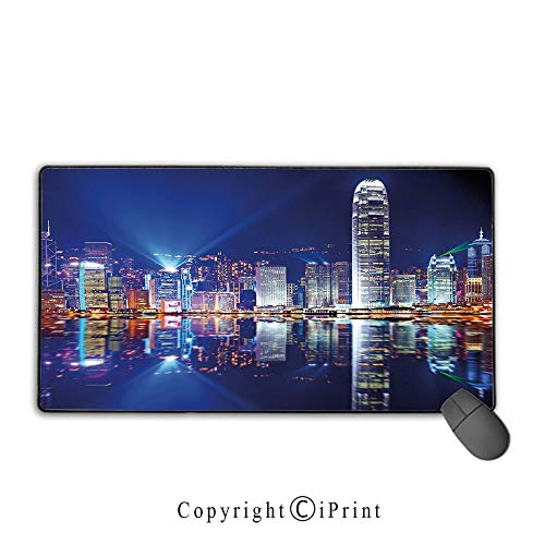 Extended Mousepad with Durable Stitched Edges,City,Hong Kong Island from Kowloon Vibrant View Water Reflection Modern China,Royal Blue Orange White,Premium Textured Fabric, Non-Slip Rubber Base,9.8