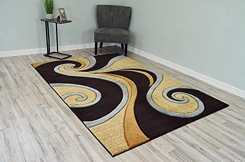PlanetRugs Premium 3D Effect Hand Carved Thick Modern Contemporary Abstract Area Rug Design 327 Smoke Blue Beige 2'7''x4'