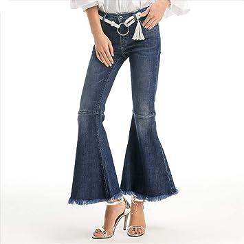 GZYD Jeans de Mujer Pierna Ancha Pantalones con Flecos ...