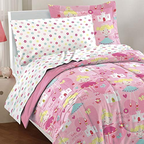 7 Piece Girls Pink Little Princess Theme Comforter Full Set, All Over Cute Face Fairy Princesses, Castles, Flowers, Hearts Print, Floral Printed Reversible Bedding, Pink White Blue, Fabric, Polyester