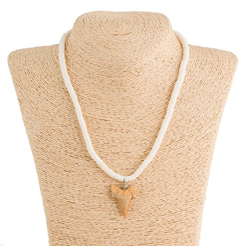 Shark Tooth Pendant on Puka Shells Necklace (1S Shark Tooth)