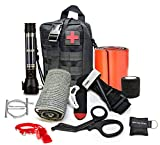 Advance Military Style First Aid Survival Kit Emergency Kit Earthquake Survival Kit IFAK Molle Bag for Car Home Work Office Boat or Adventures + Roadside Rescuer 9-IN-1 Gadget Solar Powered Flashlight