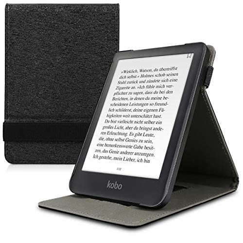 kwmobile Cover Compatible with Kobo Clara HD - Case with Strap + Stand - Black