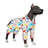 LovinPet Big Dog Pajamas, Large Dog Pjs Post Surgery Wear, 100% Cotton Dog Shirt for Pitbull Labrador Doberman Boxer Lightweight Pullover Dog Clothes(Extra Large)