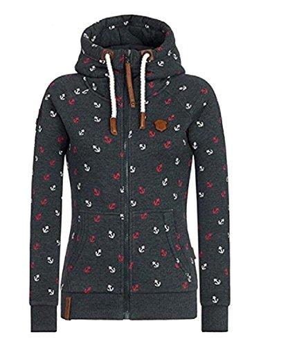 容量スワップ気づくなるNicellyer 婦人用プラスベルベットプリントフードスウェットシャツジャケットの締め紐のレインコート
