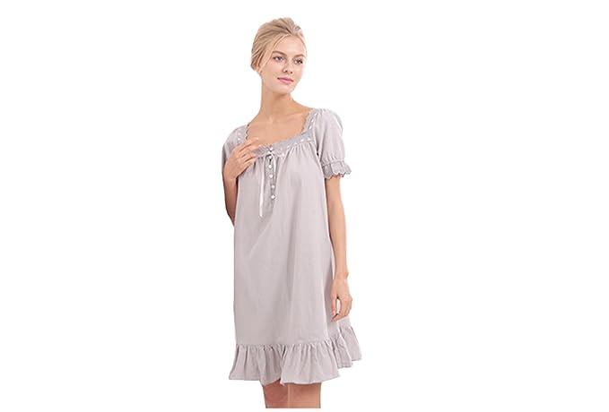 59dfc56289 Sisjuly Women s Cotton Short Sleeve Sleep Shirt Dress Night Wear at ...