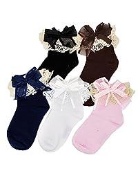 CHUNG Toddler Girls Princess Cotton Crew Socks Pack of 6 Bowknot Lace Ruffles