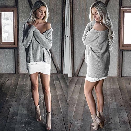 Casual Jumper Sweat Longues Hauts Sexy Oblique Sweater Mode Gris Tricots Pullover Blouse Automne Manches Printemps paule Shirts Tops Pulls Femmes Tunique Chandail FP8vq
