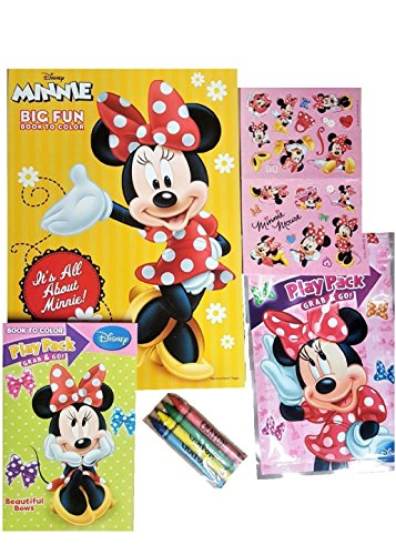 Minnie Mouse Coloring and Activity Book Set - 1 Jumbo Coloring Book, 25 Stickers, 4 Crayons and Bonus Mini Coloring (Minnie Mouse Coloring Book)