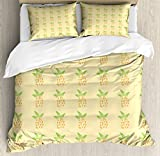 Exotic King Size Duvet Cover Set by Ambesonne, Watercolor Pineapple with Brush Strokes Hawaii Themed Illustration, Decorative 3 Piece Bedding Set with 2 Pillow Shams, Orange Pale Yellow Green