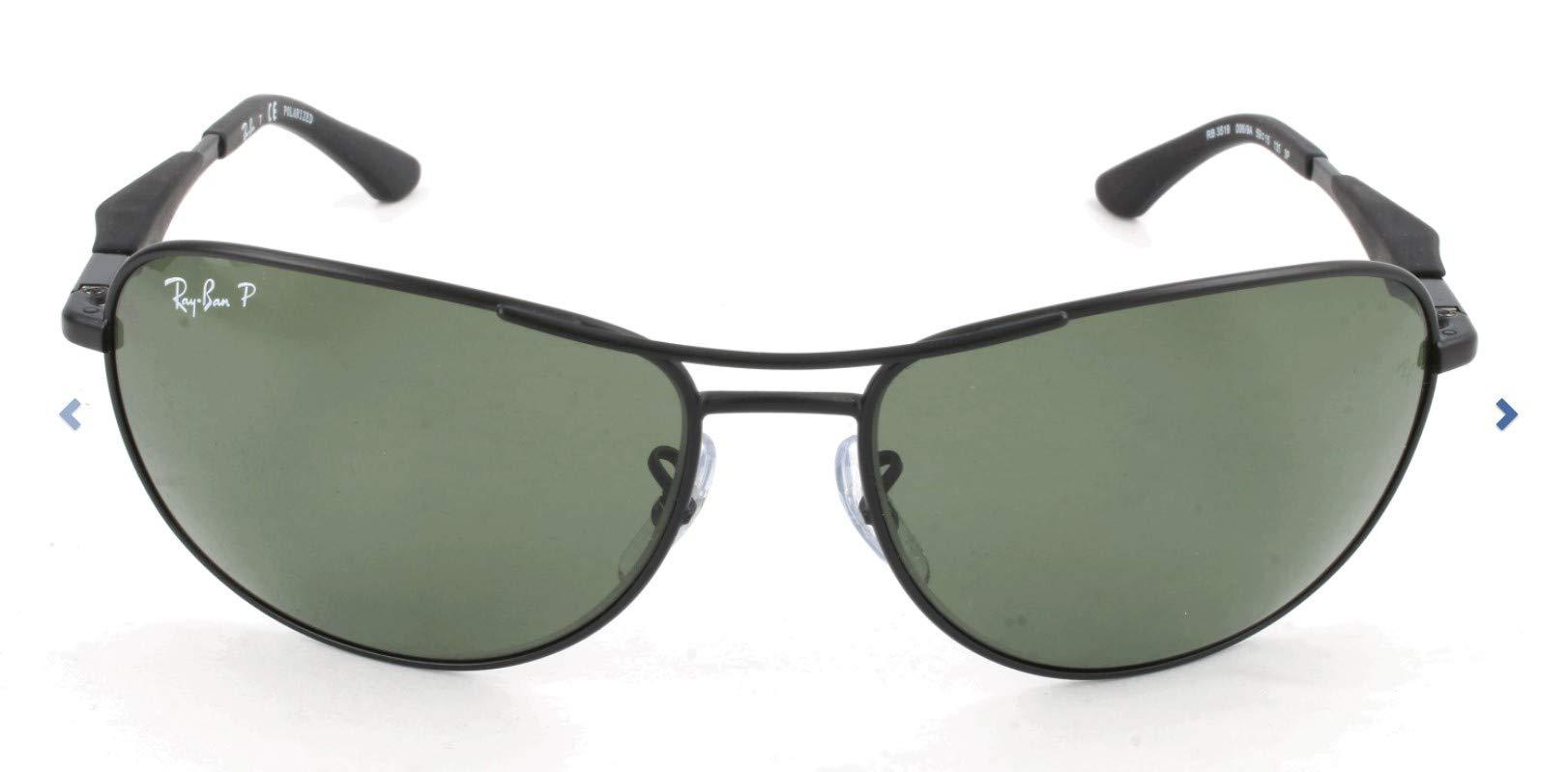 Ray-Ban RB3519 Aviator Sunglasses, Matte Black/Polarized Green, 59 mm