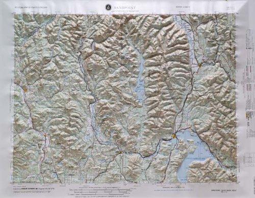 21 Relief Raised Map - Sandpoint, Washington; Idaho (Western United States 1:250,000, V502P)