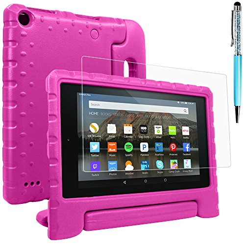Tablet All-New Fine 7 2015 Case with Screen Protector & Stylus, AFUNTA Convertible Handle EVA Protective Case, PET Plastic Cover & Touch Pen Compatible 7 inch Tablet (5th Generation 2015 Release)-Rose by AFUNTA (Image #9)