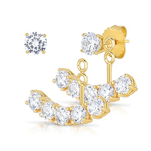 14K Gold Plated Sterling Silver Front Back 2 in 1 CZ AAA Quality Stud and Ear Jacket Cuff Earrings Set
