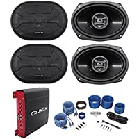 (4) Hifonics ZS693 6x9 1600 Watt Car Audio Speakers+4-Channel Amplifier+Amp Kit