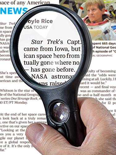 SeeZoom Lighted Magnifying Glass 3x 45x magnifier lens - Handheld Magnifying Glass with light for Reading Small Prints, map, coins and jewelry - Scratch Resistant Glass lens