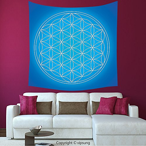 House Decor Square Tapestry-Flower Of Life Sacred Geometry Pattern Art Of Nature Consisting Of Types Overlapping Circles Theme Blue_Wall Hanging For Bedroom Living Room Dorm