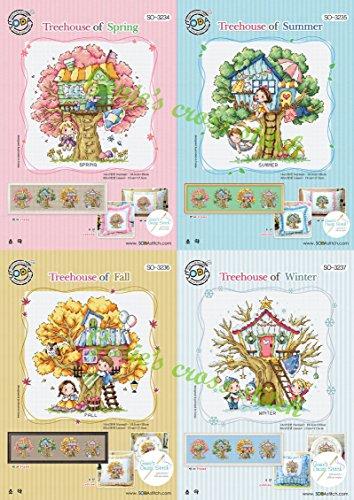 Four Seasons Tree House - Sodastitch Cross Stitch 4 - Pattern Stitch House Cross