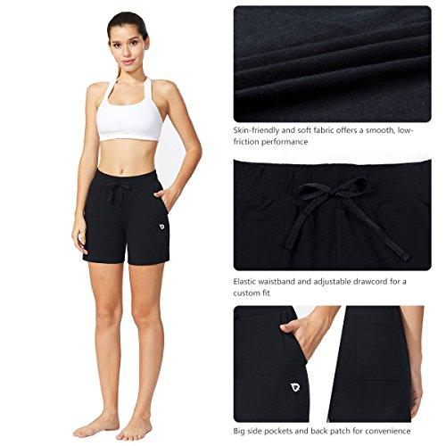 Baleaf Women's Activewear Yoga Lounge Shorts with Pockets Black Size L