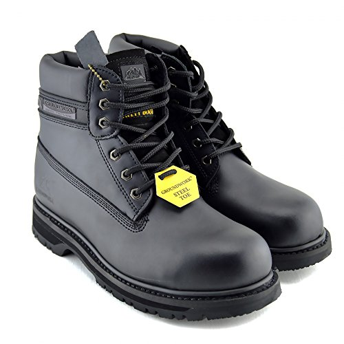 Herren Groundwork Stahl-Zehe-Sicherheits-Schuhe Lace Up arbeiten Knöchel-Leder-Stiefel Händler Schwarz
