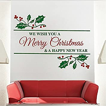 Amazoncom Merry Christmas Wall Stickers Christmas Wall Decals - Christmas wall decals removable